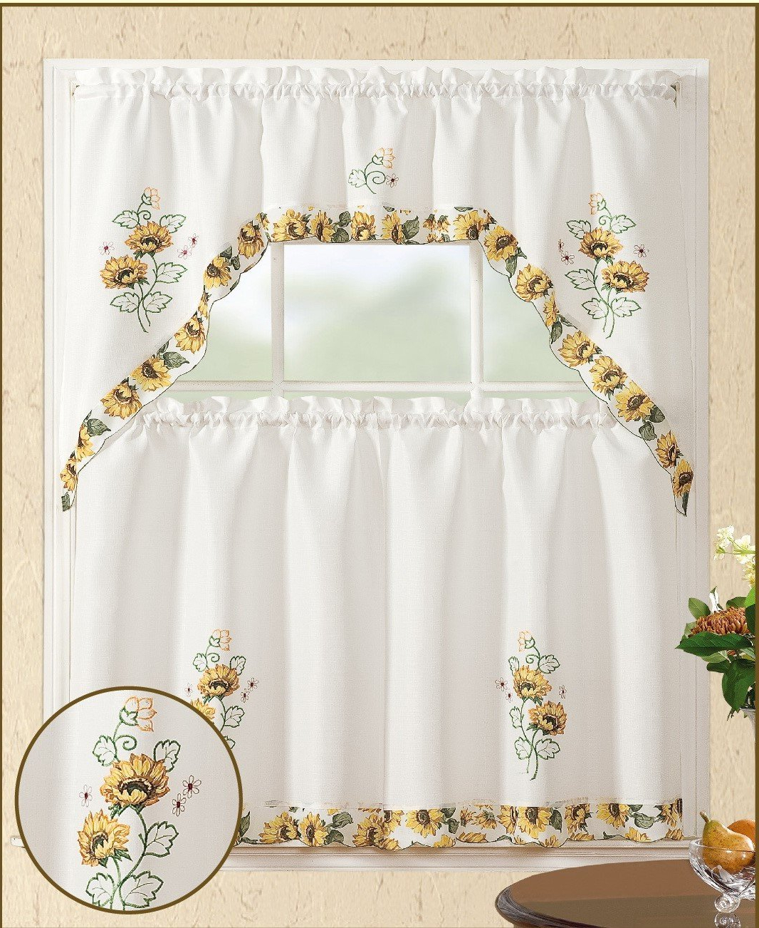 Newest Details About All American Collection 3Pc Sunflower Kitchen Curtain Set Pertaining To Traditional Tailored Window Curtains With Embroidered Yellow Sunflowers (View 14 of 20)
