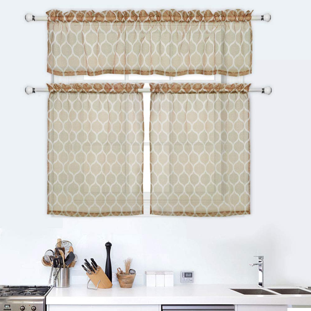 Newest Haperlare 3 Pieces Semi Sheer Kitchen Curtains Set, Trellis Pattern Tier  Curtains And Valance Set, Rod Pocket Casual Weave Cafe Bathroom Curtains  For Within Semi Sheer Rod Pocket Kitchen Curtain Valance And Tiers Sets (View 8 of 20)