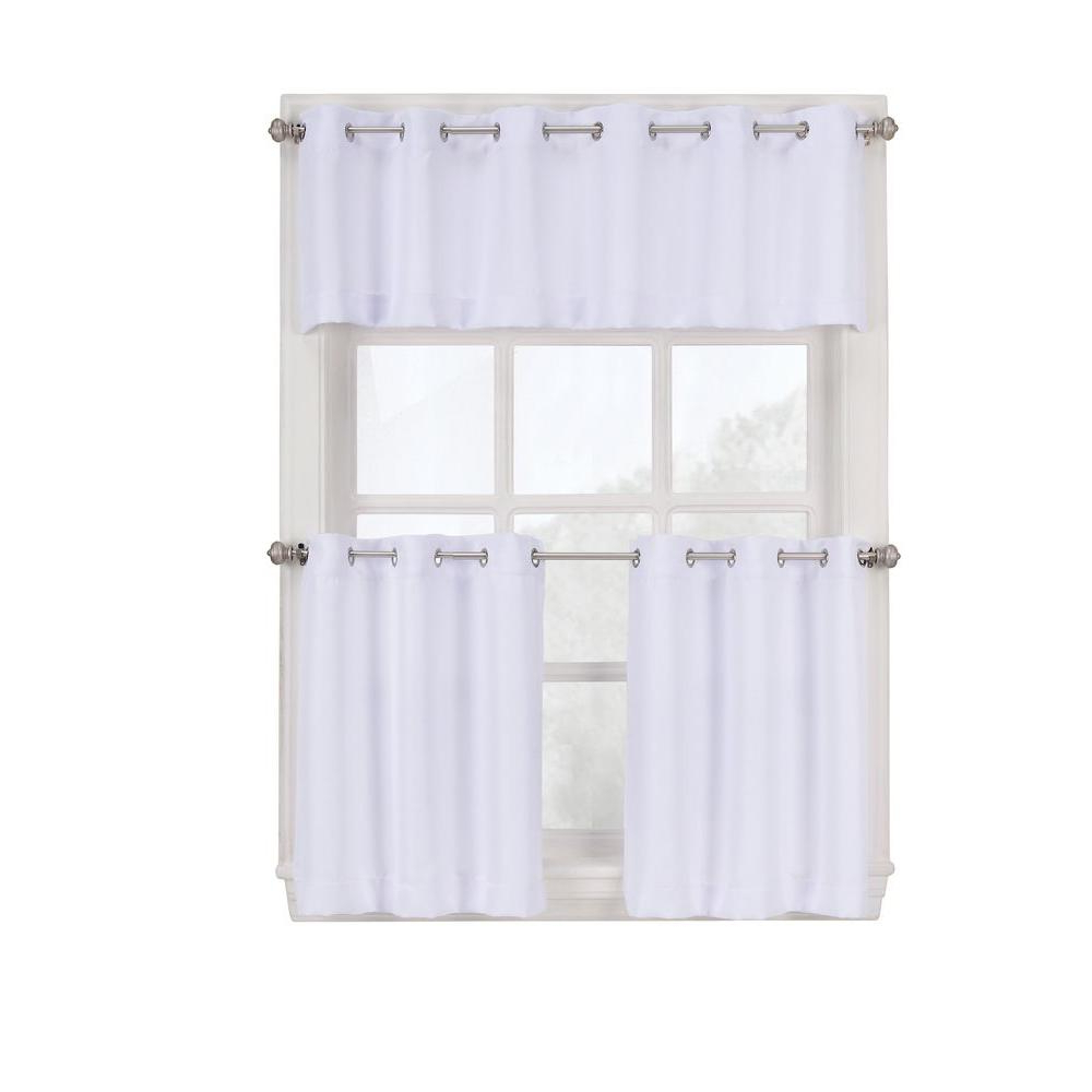 Newest Kitchen Curtain Tiers Throughout Lichtenberg Semi Opaque White Montego Grommet Kitchen Curtain Tiers, 56 In.  W X 36 In (View 17 of 20)