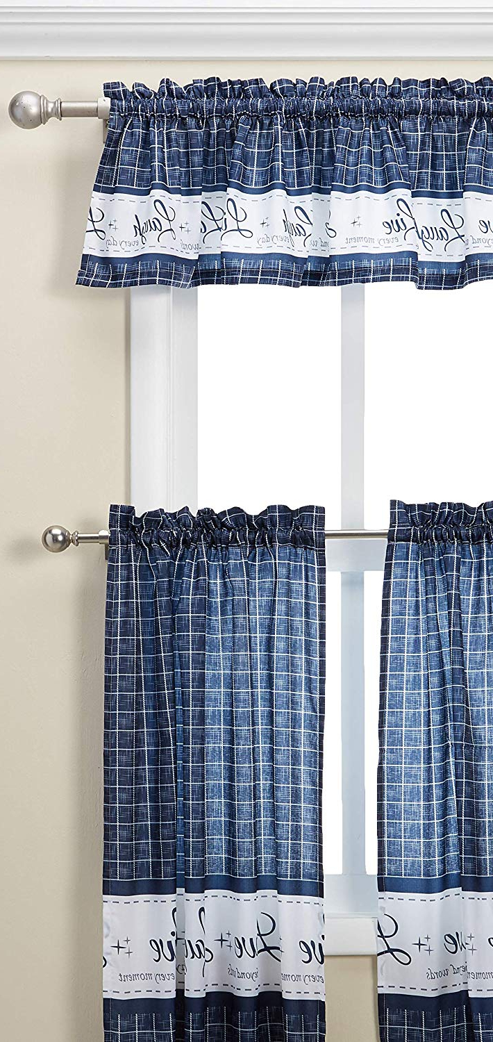"Newest Live, Love, Laugh Window Curtain Tier Pair And Valance Sets Regarding Achim Home Furnishings Achim Home Imports Live, Love, Laugh Window Curtain Tier Pair And Valance Set, Pair & Valance 58"" X 36"", Navy (View 4 of 20)"