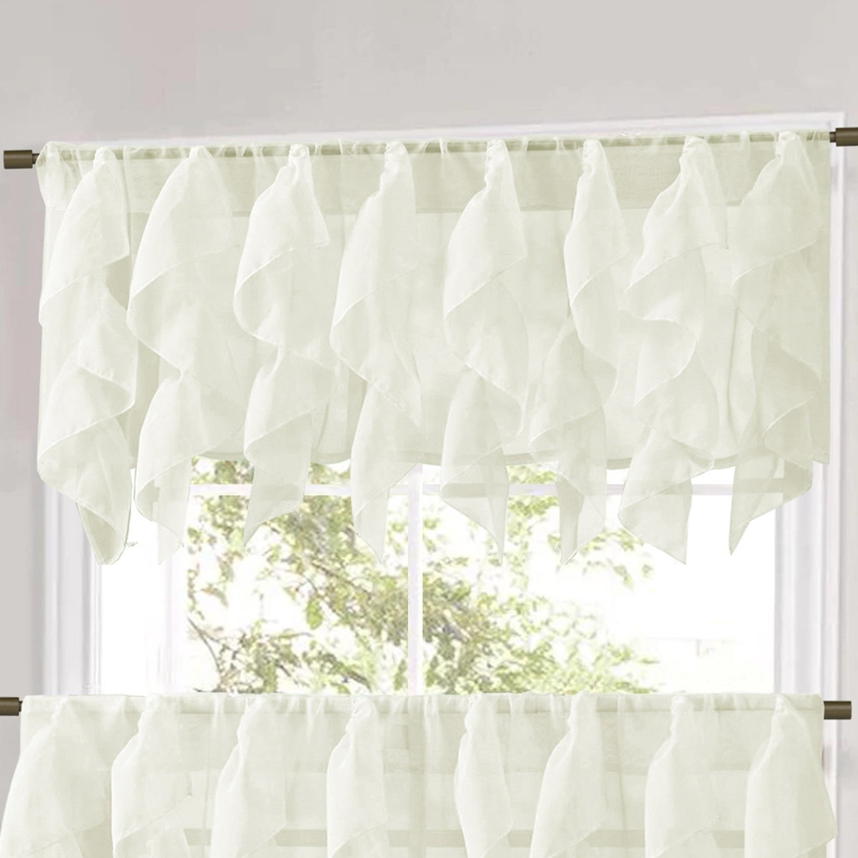 Newest Maize Vertical Ruffled Waterfall Valance And Curtain Tiers For Vertical Ruffled Waterfall Window Curtain Pieces Valance And Tiers Options (ivory) (View 2 of 20)