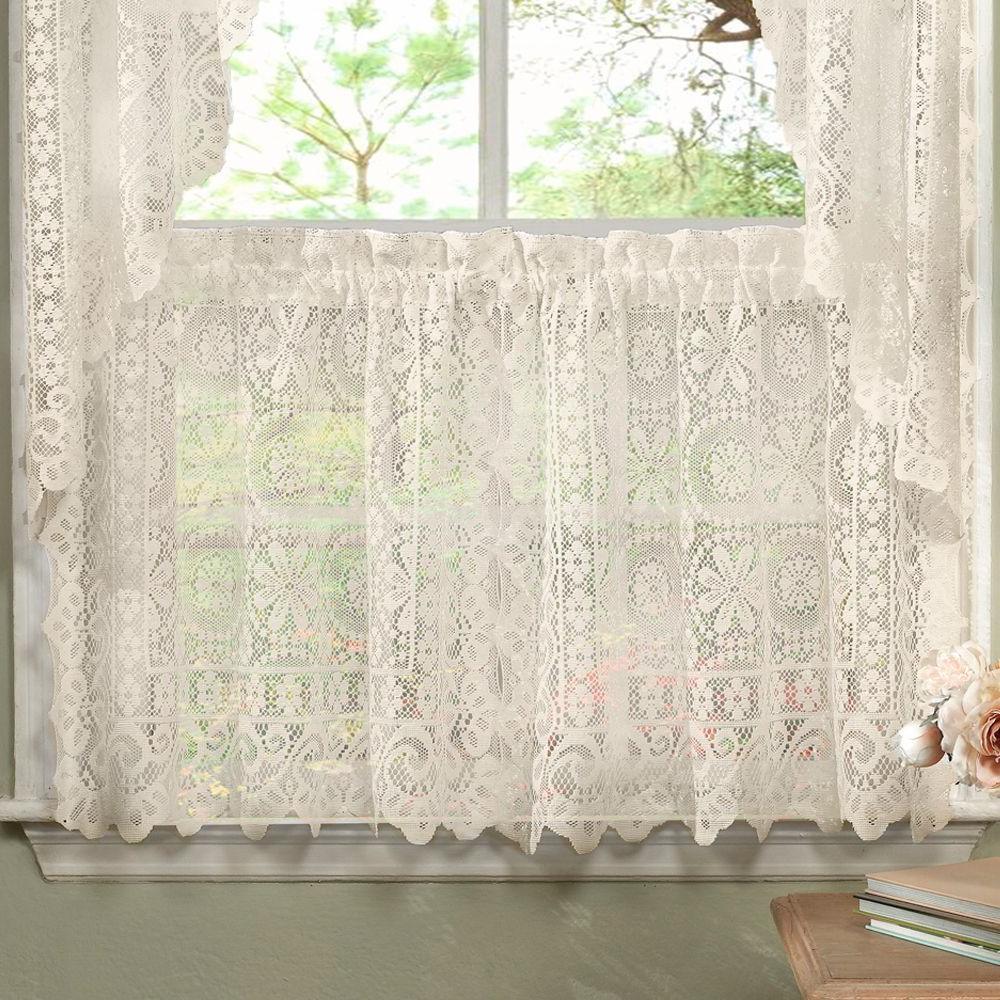Newest N Luxurious Old World Style Lace Kitchen Curtains  Tiers And Within White Knit Lace Bird Motif Window Curtain Tiers (View 11 of 20)