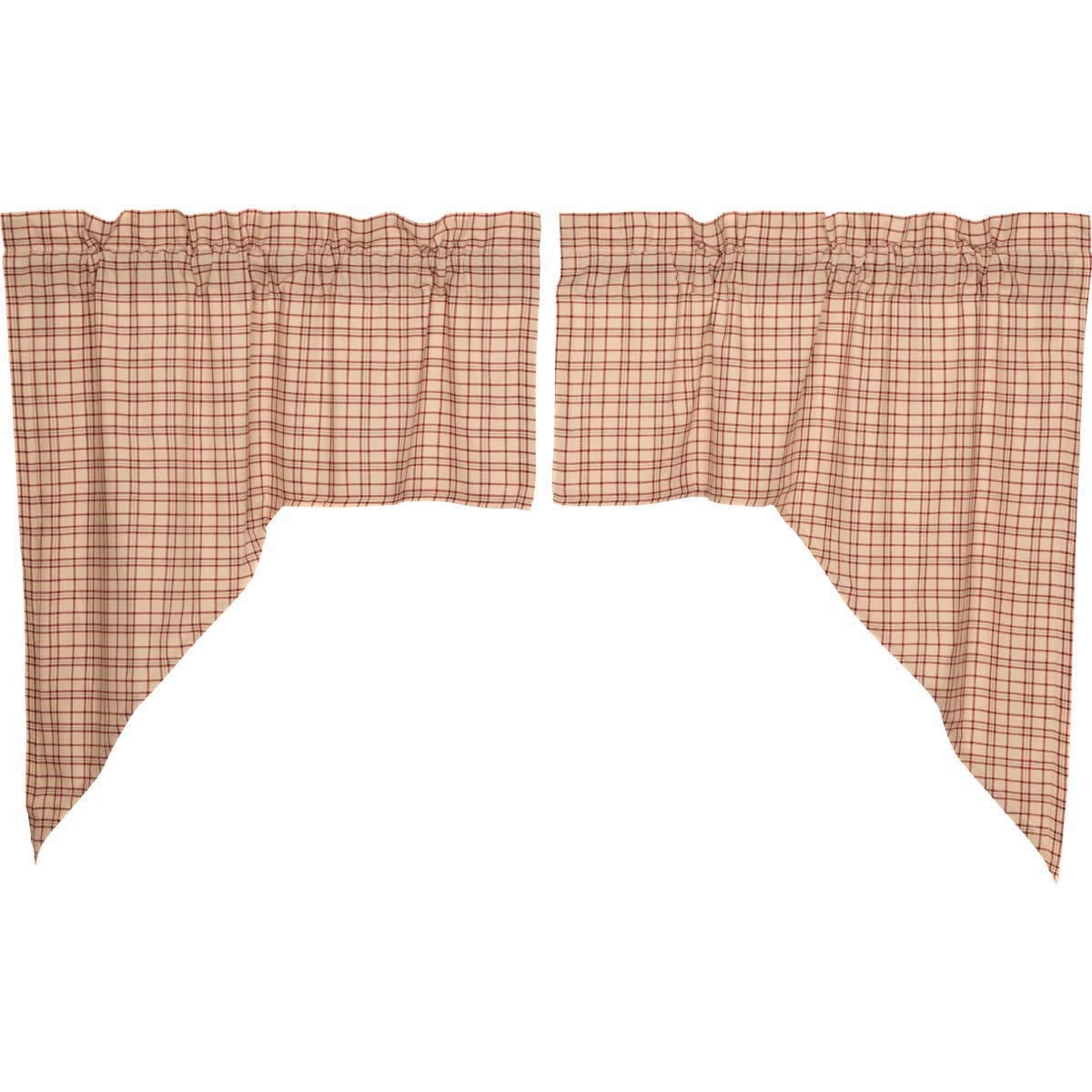 Newest Red Rustic Kitchen Curtains Throughout Vhc Brands Rustic & Lodge Kitchen Curtains Durango Rod Pocket Cotton Plaid Swag Pair, Creme White (View 20 of 20)