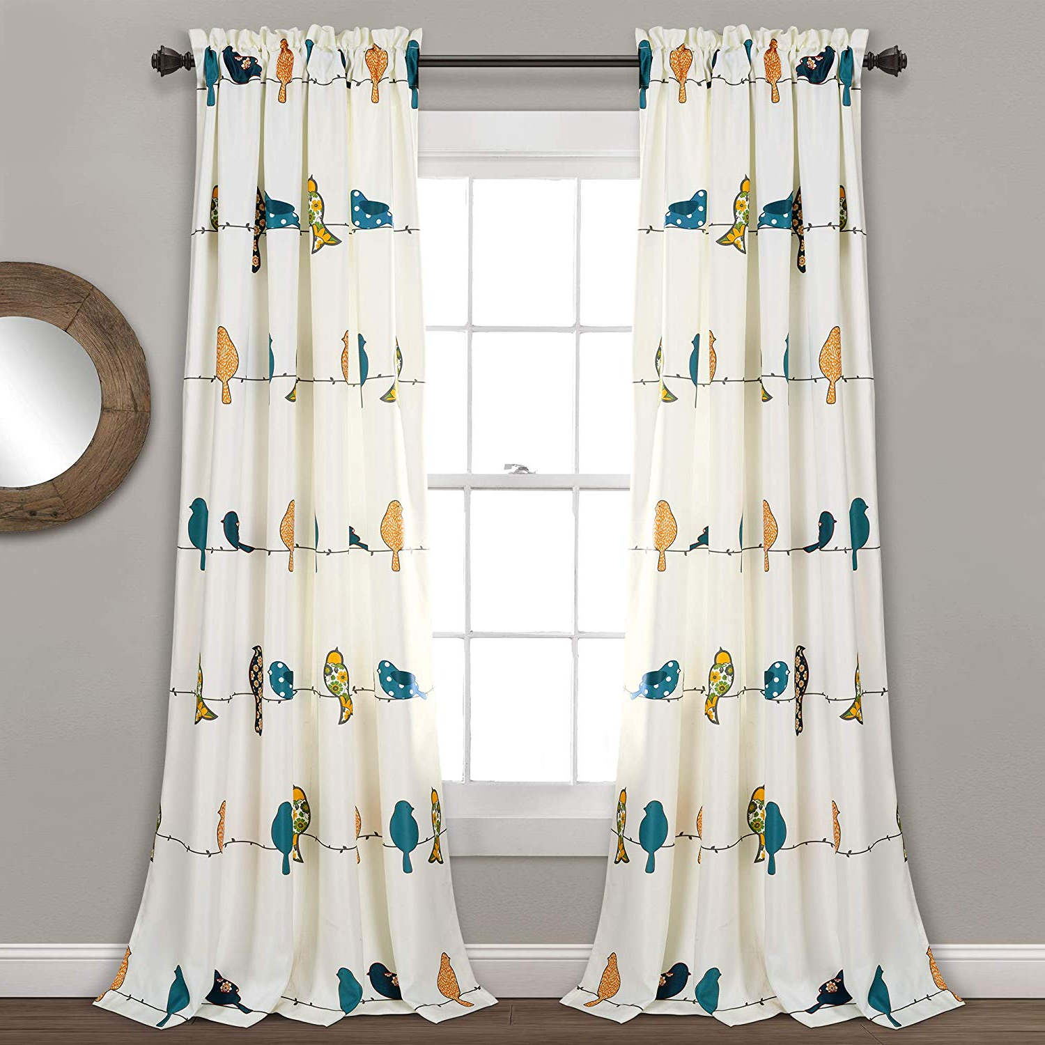 "Newest Rowley Birds Valances In Lush Decor Rowley Birds Curtains Room Darkening Window Panel Set For Living, Dining, Bedroom (pair), 84"" L, Multi (View 10 of 20)"