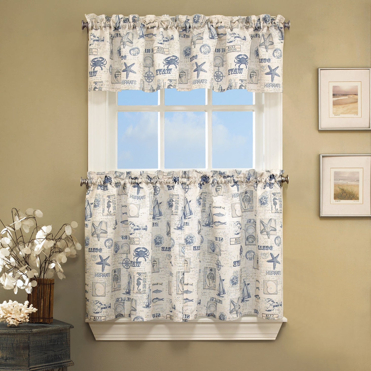 Newest Seabreeze 36 Inch Tier Pairs In Ocean Throughout Vintage Sea Shore All Over Printed Window Curtain Separates (View 9 of 20)