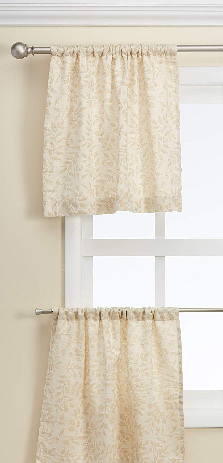 "Newest Serene Rod Pocket Kitchen Tier Sets Within Elrene Home Fashions Serene Window Tier, 30""x24"" (Set Of 2 60""x15"" (1 Valance), Beige Linen (View 8 of 20)"