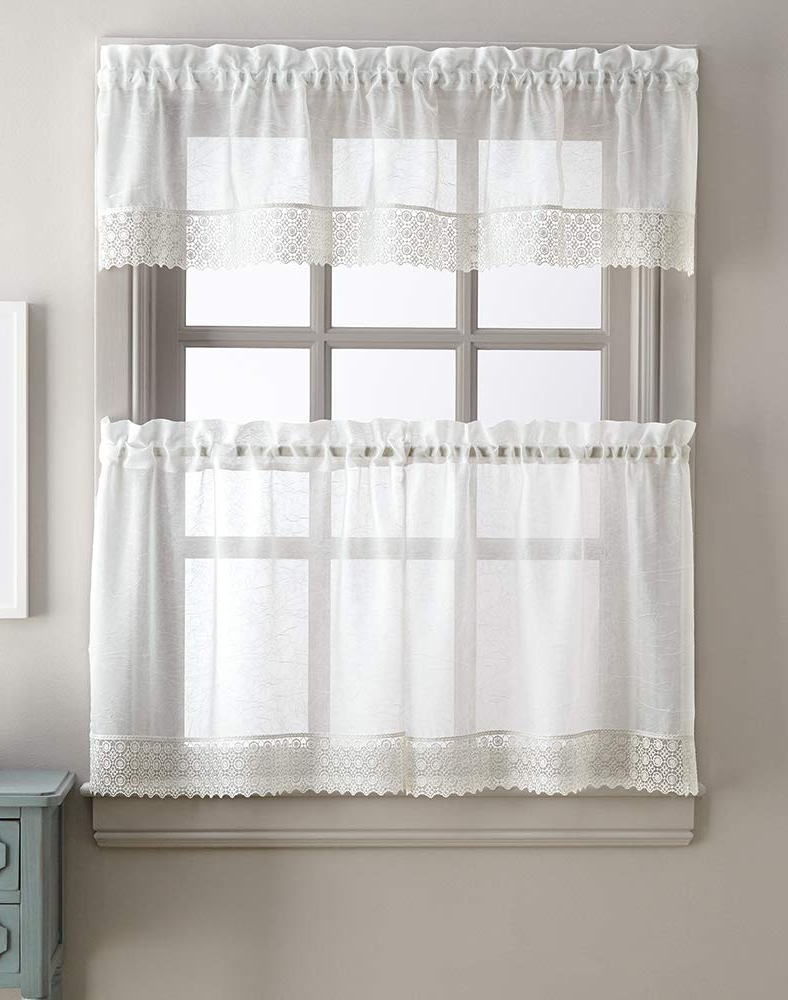 Newest Sheer Lace Elongated Kitchen Curtain Tier Pairs Within Amazon: Chf Adele Solid Sheer Window Kitchen Curtain (View 9 of 20)