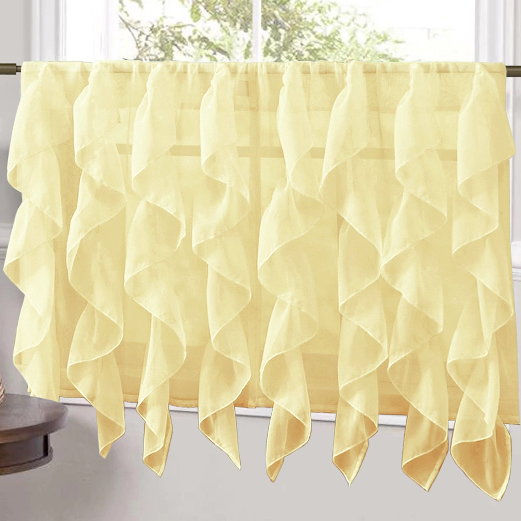 Newest Sweet Home Collection Maize Vertical Ruffled Waterfall Valance And Curtain Tiers Pertaining To Maize Vertical Ruffled Waterfall Valance And Curtain Tiers (View 3 of 20)