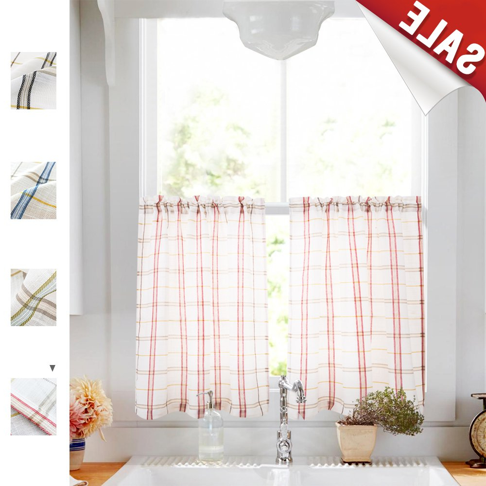 Newest Touch Of Spring 24 Inch Tier Pairs Pertaining To White Tier Curtains For Kitchen, Red And Taupe Check On White Sheer Curtains Classic Buffalo Checkered Linen Textured Gingham Cafe Curtains 24 Inches (View 5 of 20)