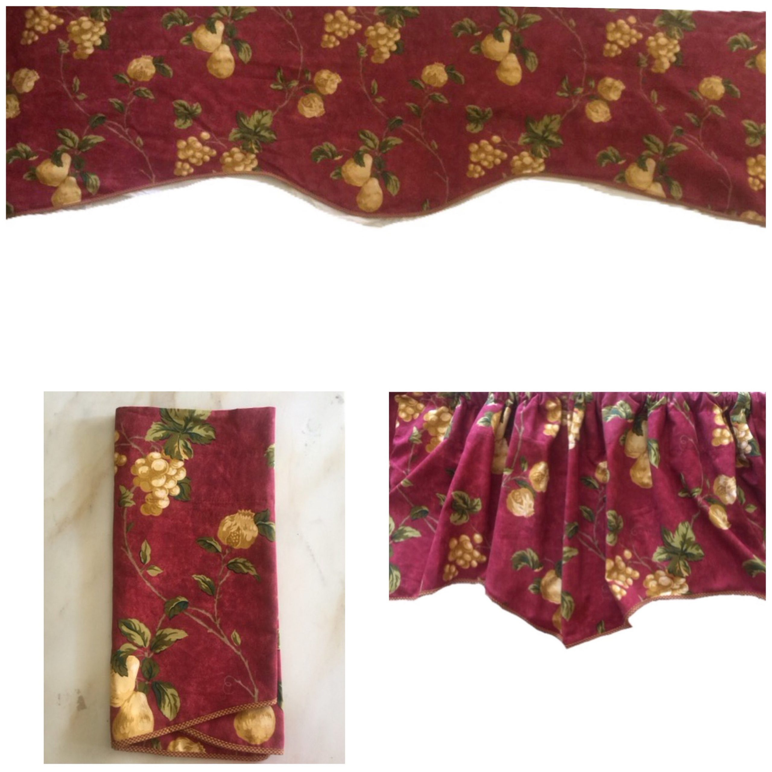 "Newest Vintage Waverly Home Classic Chianti Tuscan Cabernet Yellow Grapes And Pears Window Valance Curtain 81"" X 22""/3"" Rod Lined Inside 5 Piece Burgundy Embroidered Cabernet Kitchen Curtain Sets (View 14 of 20)"