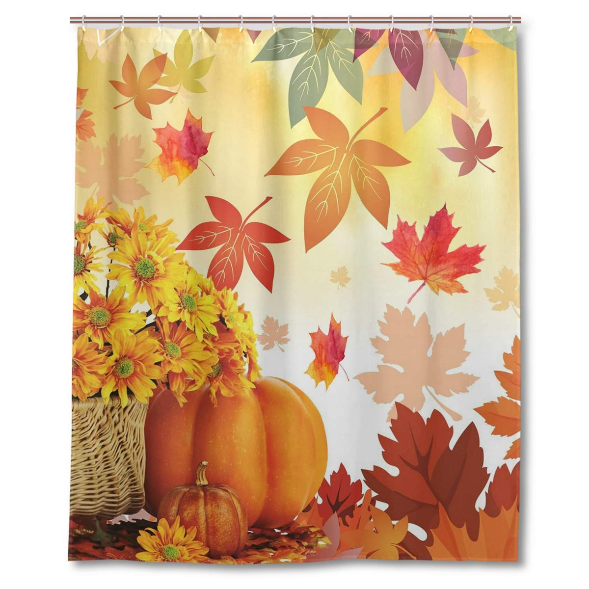 Newest Wamika Sunflower Maple Leaves Pumpkin Autumn Fall Flowers Shower Curtain Polyester Waterproof,happy Thanksgiving Day Harvest Give Thanks Bath Room Within Window Curtains Sets With Colorful Marketplace Vegetable And Sunflower Print (View 7 of 20)