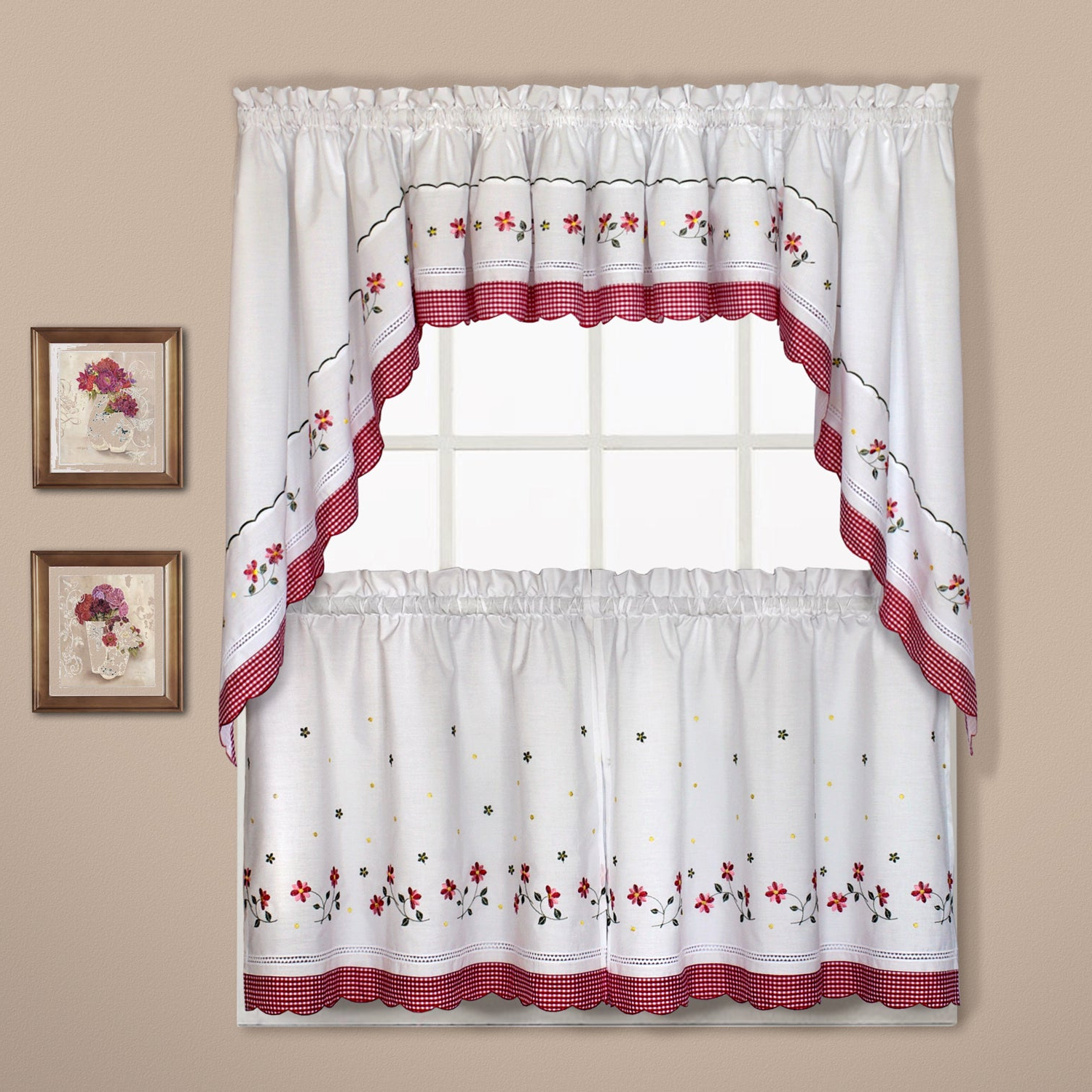 Oakwood Linen Style Decorative Curtain Tier Sets Intended For Popular Luxury Collection Gingham Light Filtering Straight Valance (View 14 of 20)