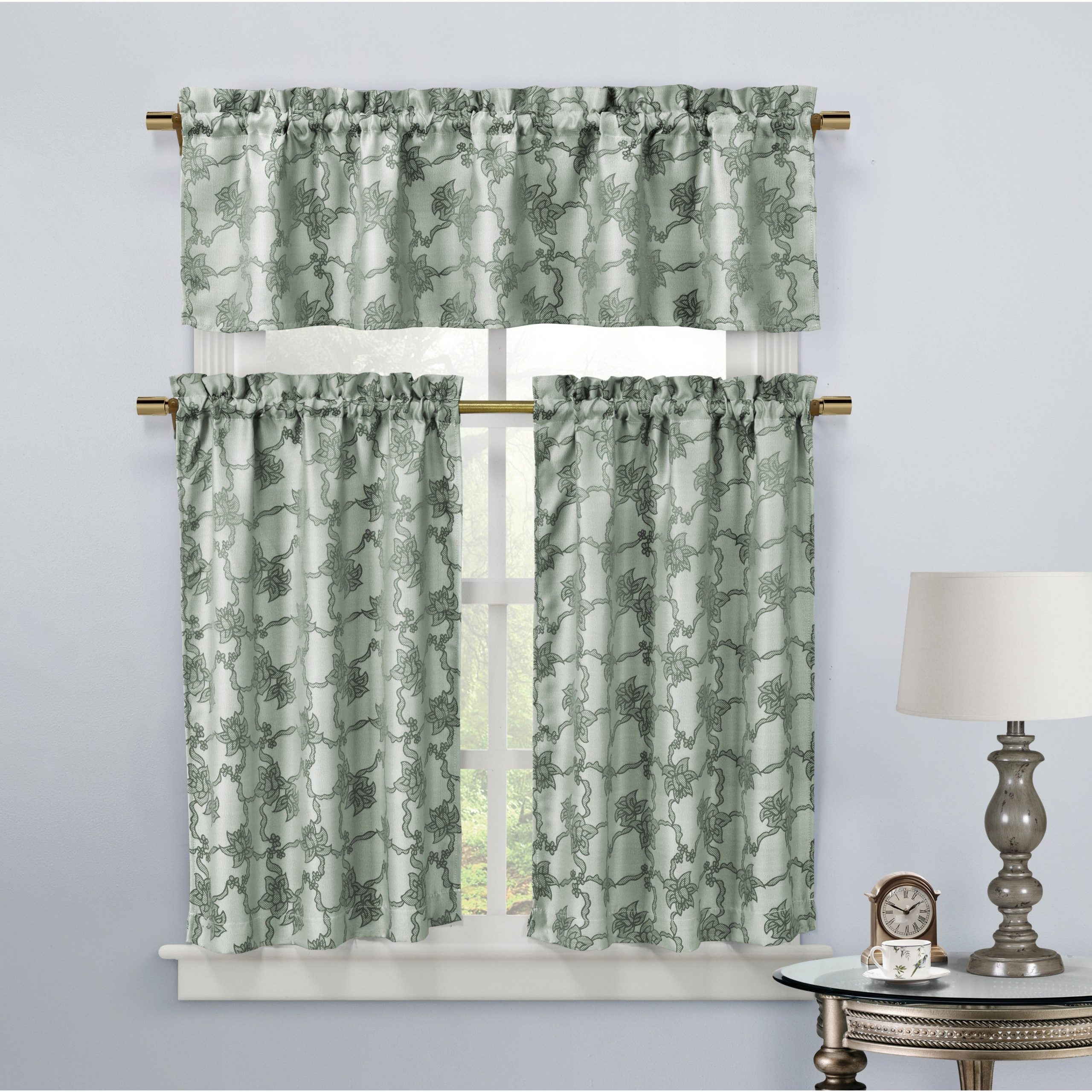 Oakwood Linen Style Decorative Curtain Tier Sets Within Latest Shop Duck River Gala Floral Kitchen Curtain Tier – Free (View 17 of 20)