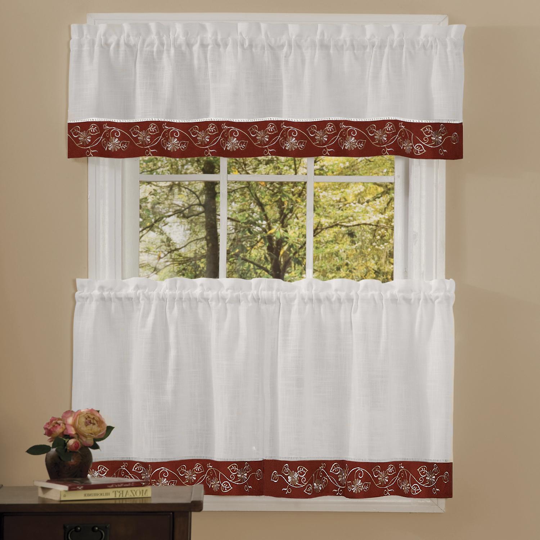 Oakwood Linen Style Decorative Window Curtain Tier Sets Inside Favorite Details About Oakwood Linen Style Kitchen Window Curtains Tiers Or Valance Burgundy (View 4 of 20)