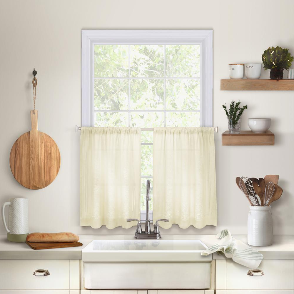 Oakwood Linen Style Decorative Window Curtain Tier Sets Inside Most Current Elrene Cameron Kitchen Tier Set Of (View 15 of 20)