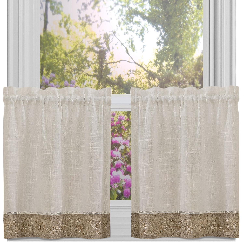 Oakwood Linen Style Decorative Window Curtain Tier Sets Throughout Widely Used Amazon: Oakwood Linen Style Kitchen Window Curtain 24 X (View 6 of 20)
