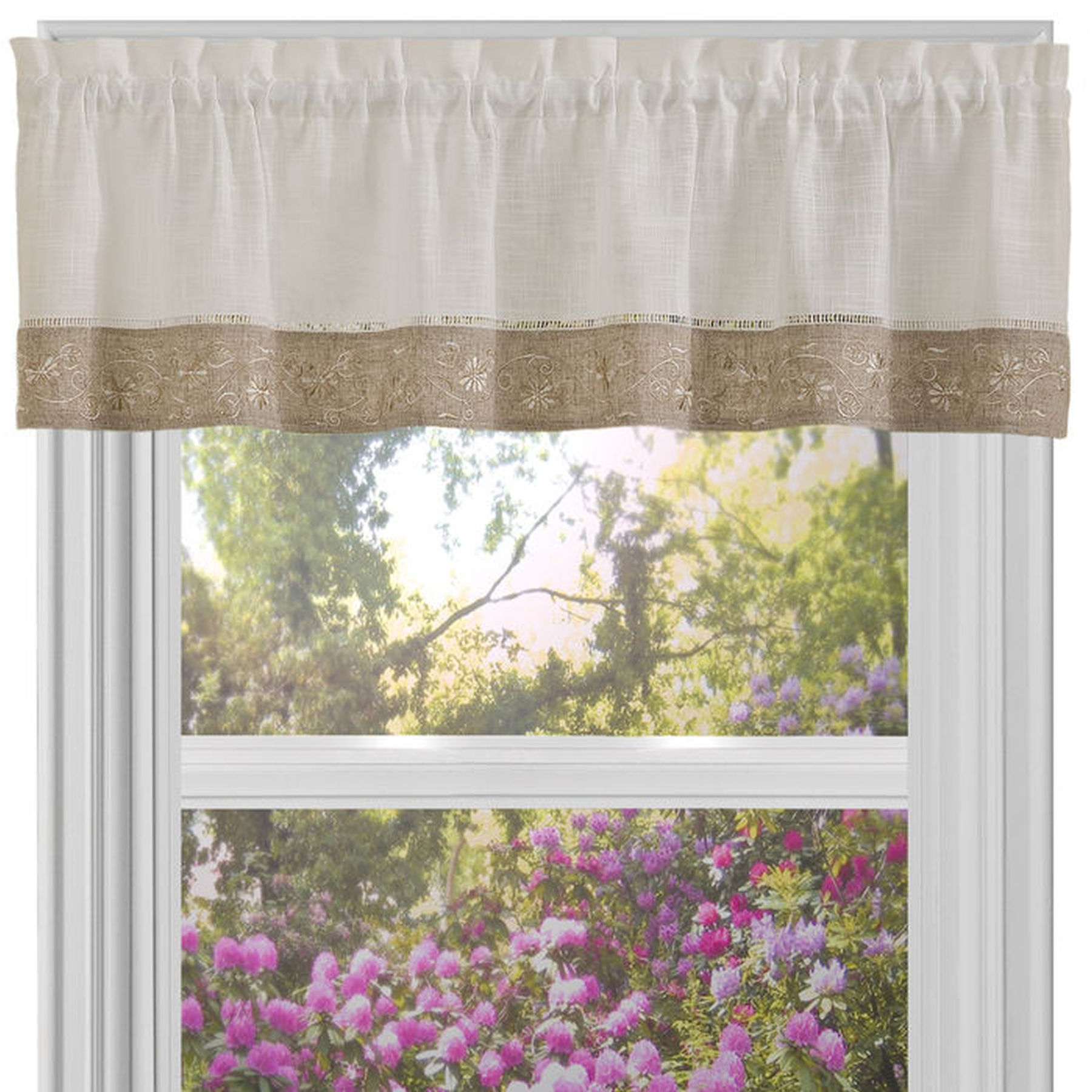 Oakwood Linen Style Decorative Window Curtain Tier Sets Within Favorite Traditional Elegance Oakwood 58x14 Window Curtain Valance – Natural (View 17 of 20)