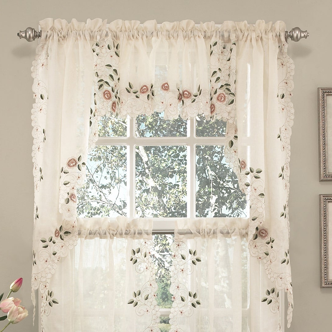 Old World Floral Embroidered Sheer Kitchen Curtain Parts Tiers, Swags And Valances Pertaining To Newest Embroidered Floral 5 Piece Kitchen Curtain Sets (View 8 of 20)
