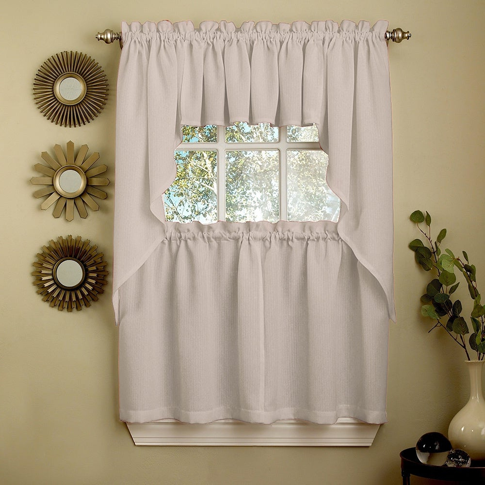 Opaque Grey Ribcord Kitchen Curtain Pieces – Tiers/ Valances/ Swags Regarding Preferred French Vanilla Country Style Curtain Parts With White Daisy Lace Accent (View 11 of 20)