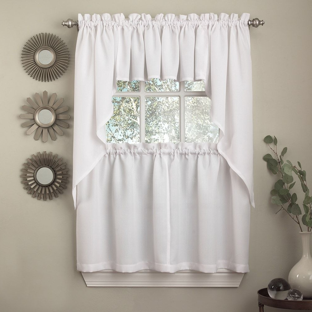 Opaque Ribcord Kitchen Curtain Pieces – Tiers/ Valances In Newest Country Style Curtain Parts With White Daisy Lace Accent (View 10 of 20)