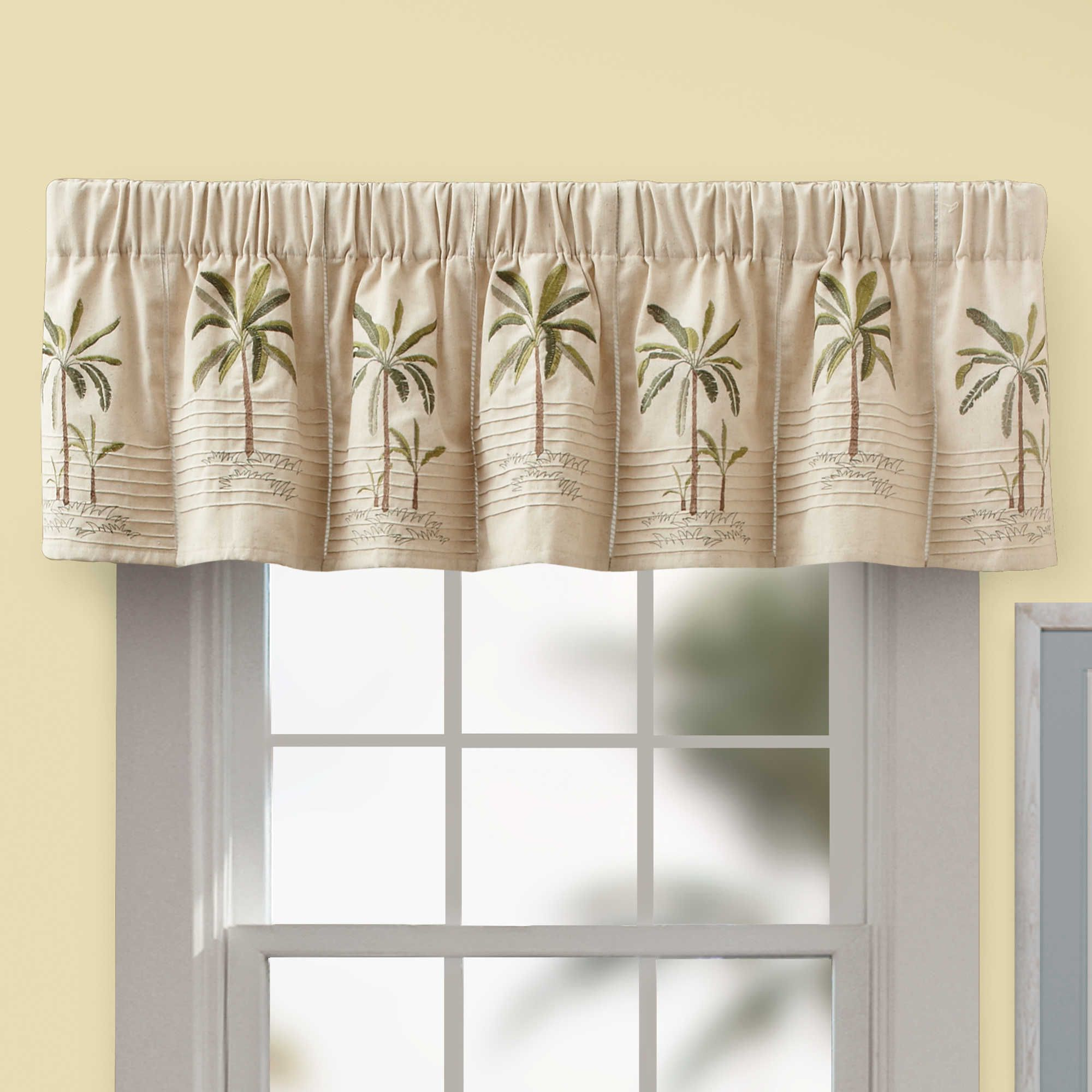 Palm Tree Valance In Ivory – Bedbathandbeyond (View 19 of 20)