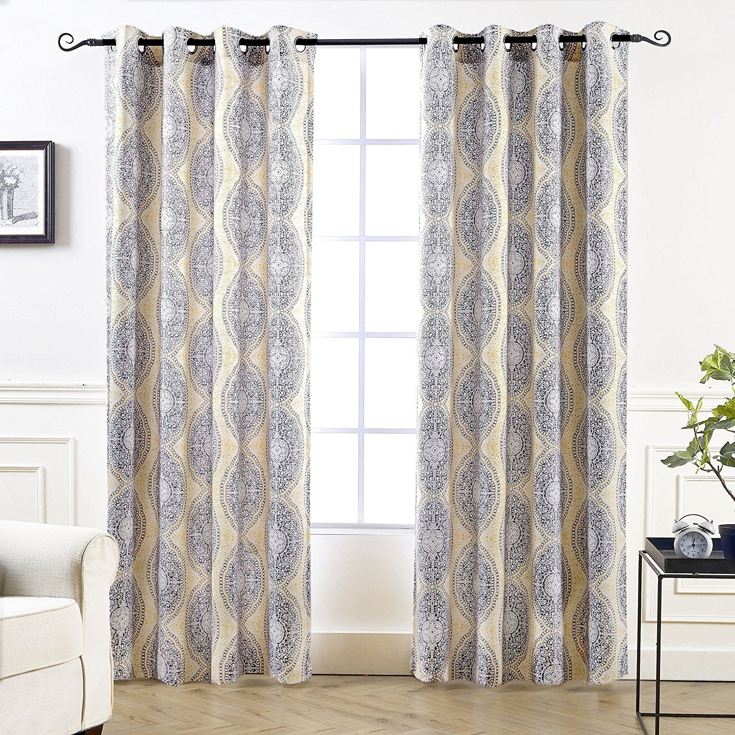 Pastel Damask Printed Room Darkening Kitchen Tiers In Best And Newest Driftaway Adrianne Pastel Damask Printed Room Darkening Grommet Window Curtain Panel Pair (View 6 of 20)
