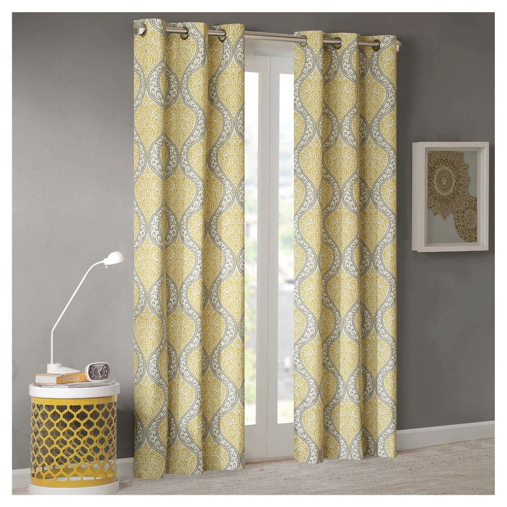 Pastel Damask Printed Room Darkening Kitchen Tiers Inside Well Known Chelsea Damask Printed Grommet Top Curtain Panel Pair Aqua (View 20 of 20)