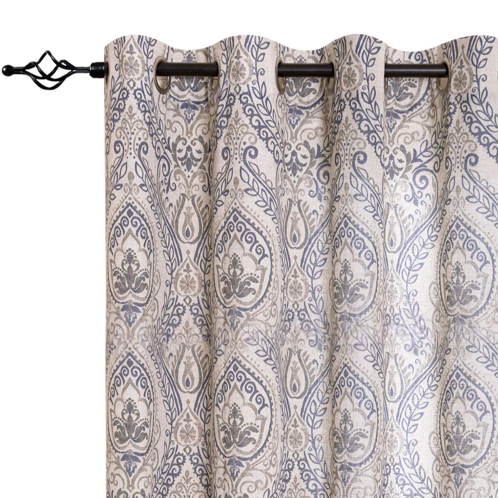 Pastel Damask Printed Room Darkening Kitchen Tiers Regarding Most Popular Jinchan Damask Printed Curtains For Bedroom Drapes Vintage Linen Blend Medallion Curtain Panels Window Treatments For Living Room Patio Door 1 Pair (View 4 of 20)