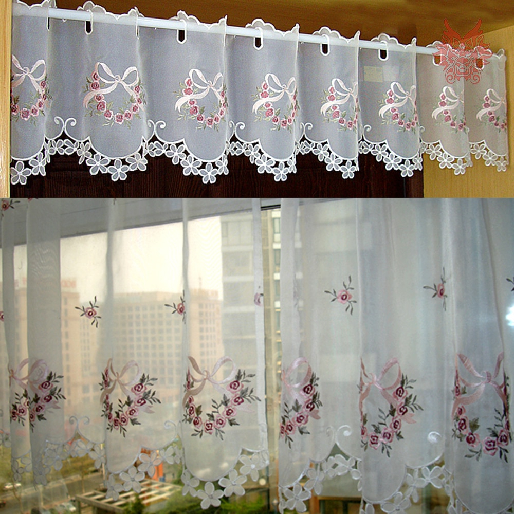 Pastoral Floral Bow Embroidery Half Curtain Bay Window Inside Most Recent Embroidered 'coffee Cup' 5 Piece Kitchen Curtain Sets (View 18 of 20)