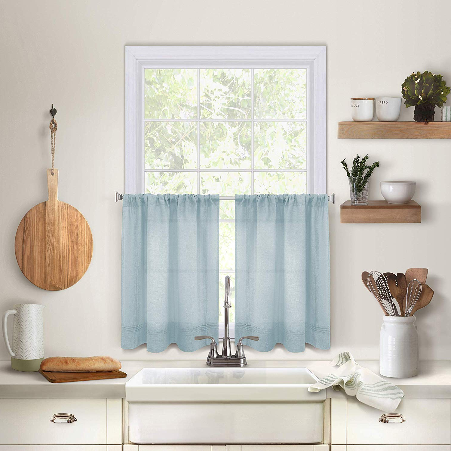 """Pintuck Kitchen Window Tiers For Well Known Elrene Home Fashions Pintuck Kitchen Window Tier Set Of 2, 30"""" X 24"""", Mineral, 2 Pieces (View 2 of 20)"""