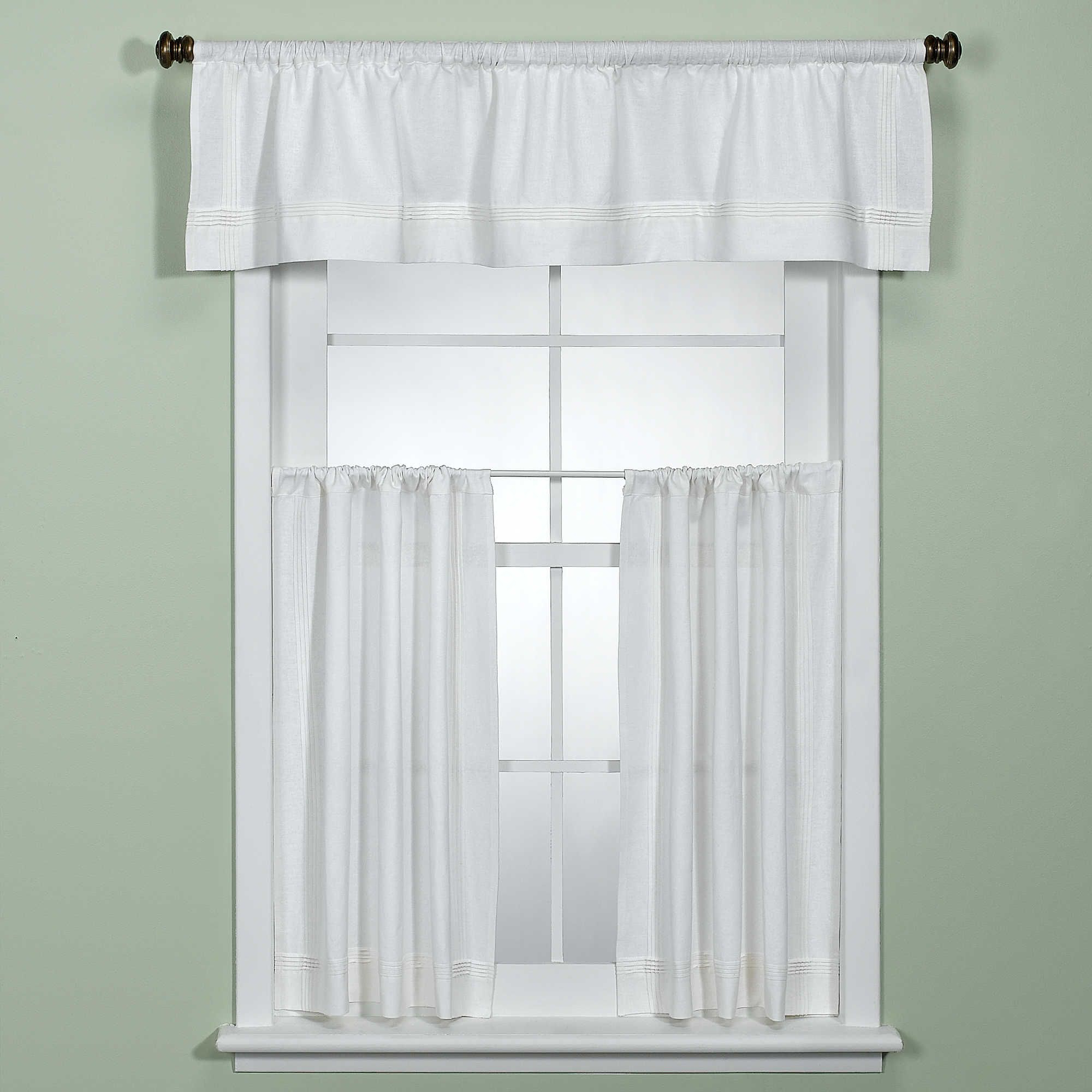 Pintuck Kitchen Window Tiers Within Preferred Maison White Kitchen Window Curtain Tiers (View 7 of 20)