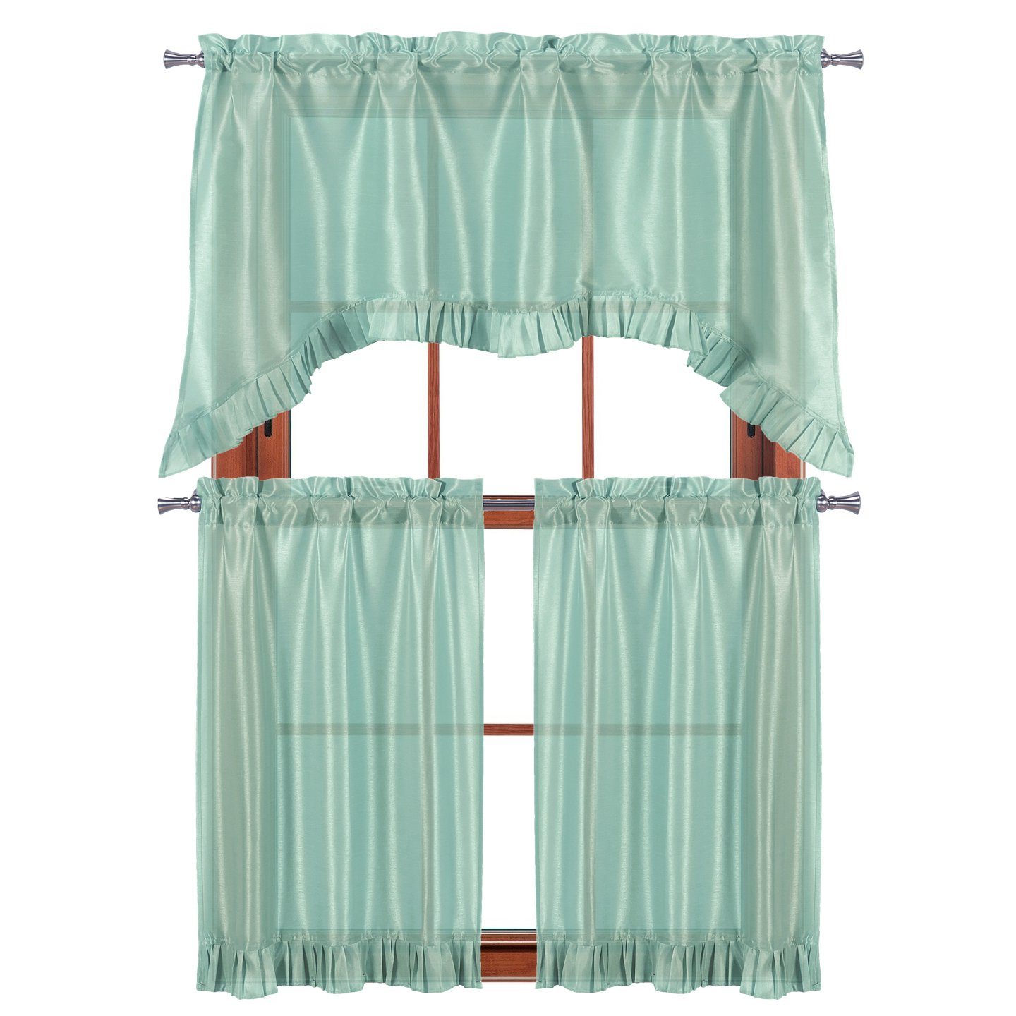 """Pleated Curtain Tiers Pertaining To Widely Used 3 Pc Window Curtain Set: Pleated Ruffle, 1 Swag Valance, 2 36""""l Tiers Panels (aqua Blue) (View 3 of 20)"""