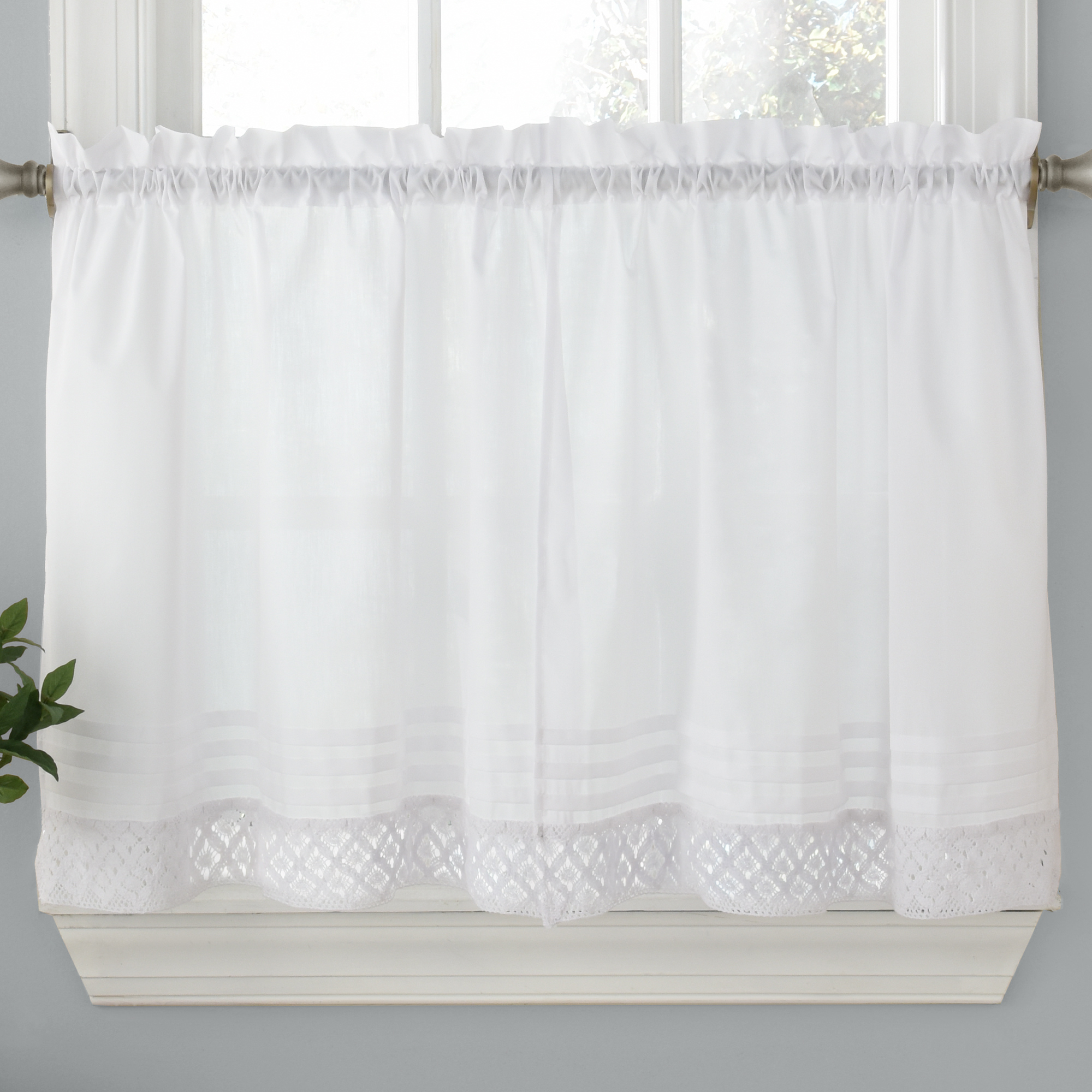 Pleated Curtain Tiers With Regard To Trendy Pleated Crochet Kitchen Window Curtain Tier Pair Or Valance White (View 11 of 20)