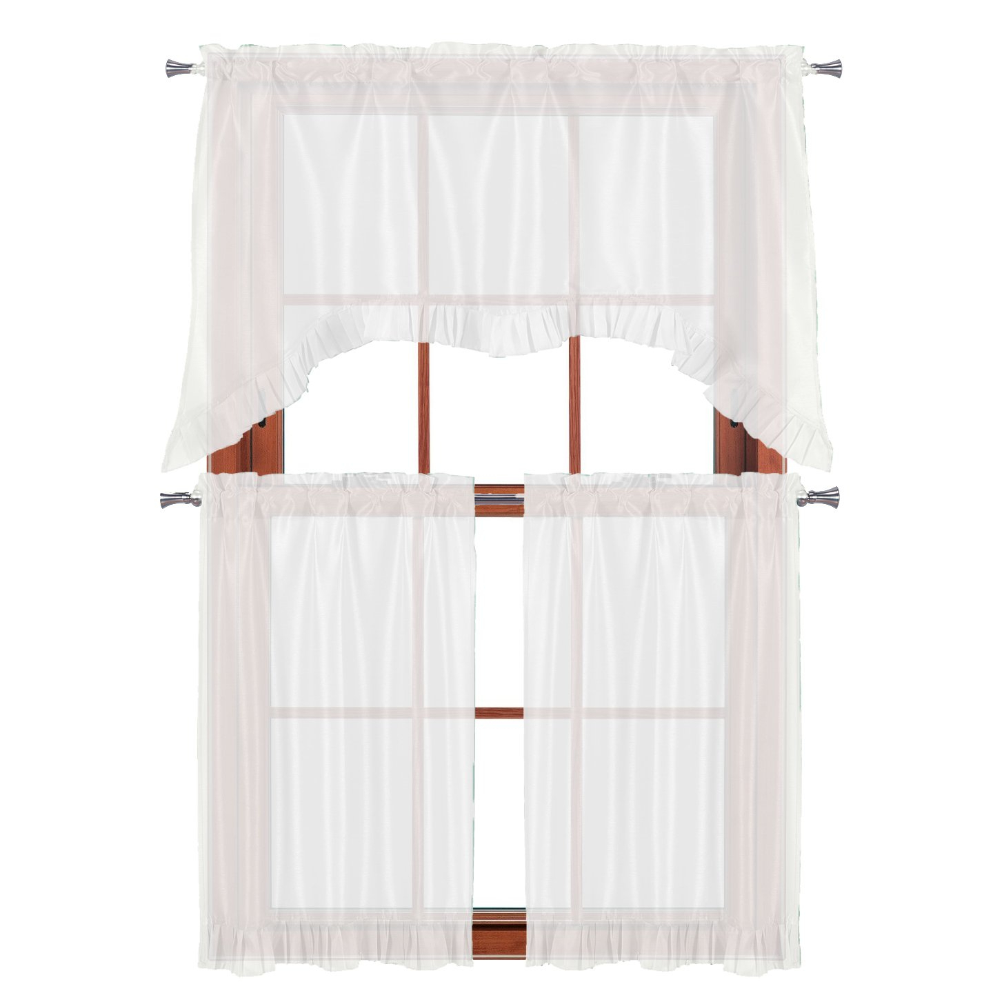 """Pleated Curtain Tiers Within Most Up To Date 3 Pc Window Curtain Set: Pleated Ruffle, 1 Swag Valance, 2 36""""l Tiers Panels (white) (View 10 of 20)"""