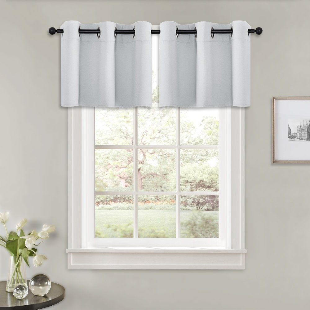 Pony Dance Blackout Valances For Windows – (wide 42 In X Long 24 In, Greyish White, 2 Pcs) Kitchen Curtains Basement Tiers Short Length Valances For Within Recent Luxurious Kitchen Curtains Tiers, Shade Or Valances (View 5 of 20)