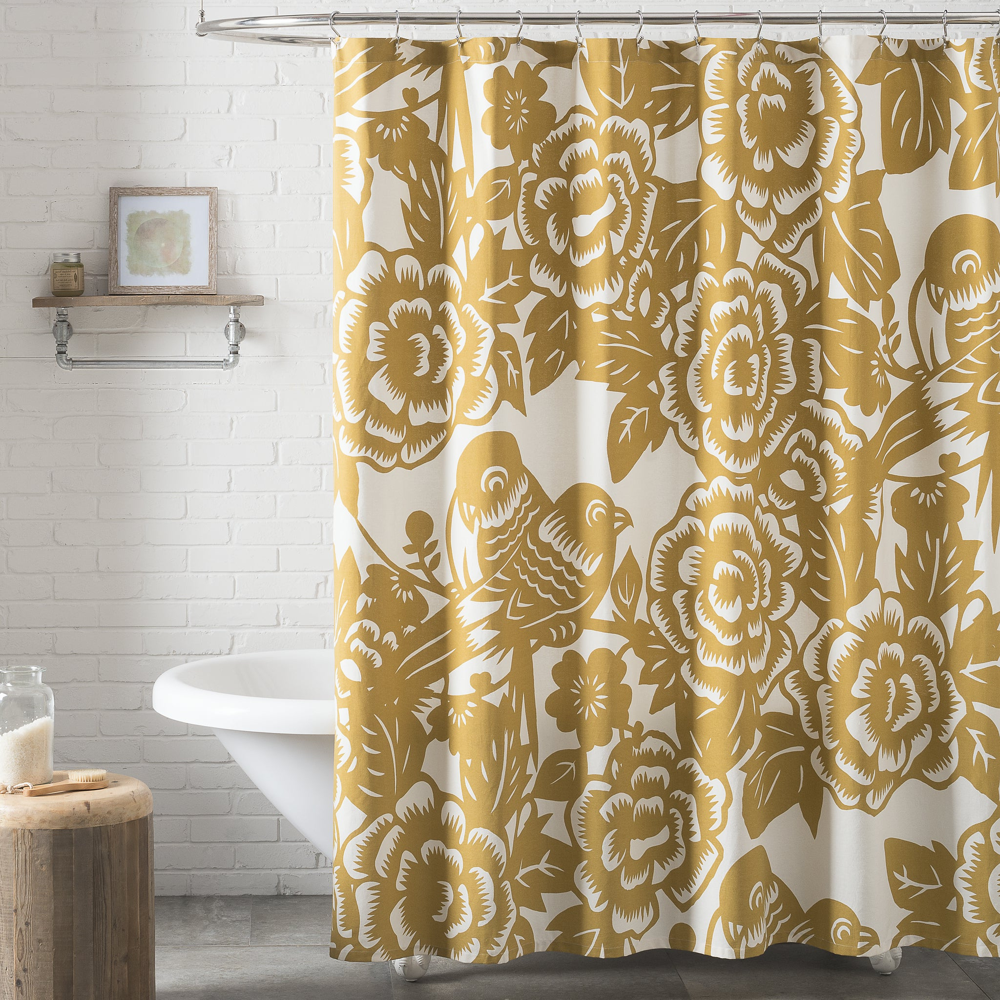 Popular Aviary Window Curtains Inside Seedlingthomas Paul Aviary Shower Curtain – Mustard (View 19 of 20)