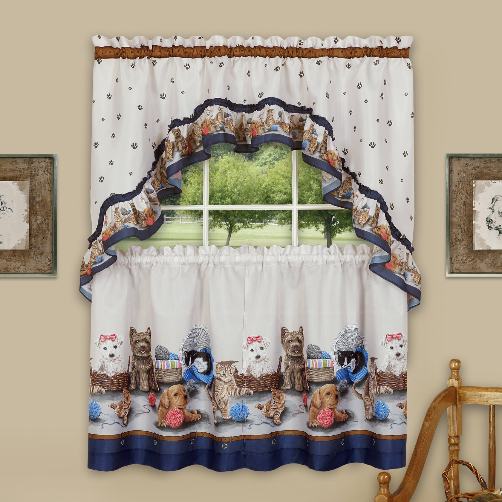 Popular Chocolate 5 Piece Curtain Tier And Swag Sets Regarding Wieczorek Precious Tier And Swag 3 Piece Kitchen Curtain Set (View 17 of 20)