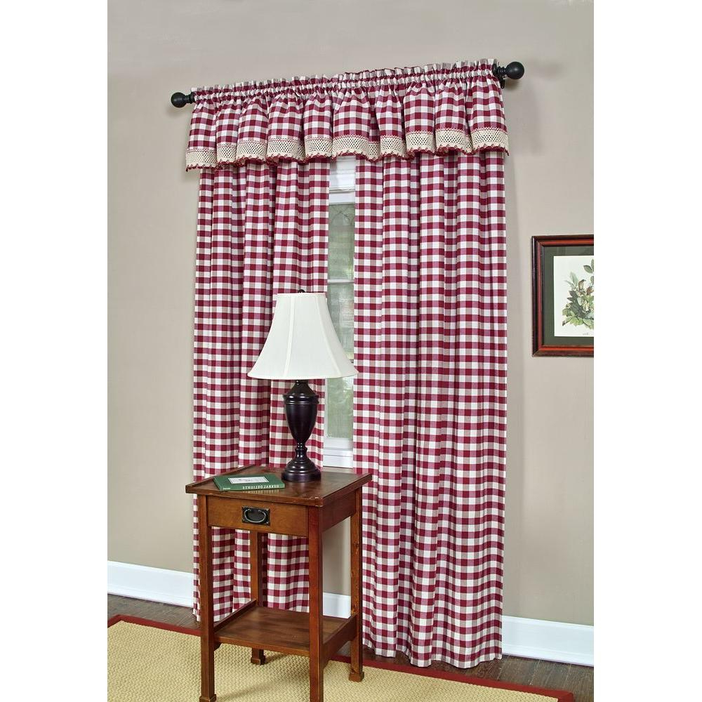 Popular Cumberland Tier Pair Rod Pocket Cotton Buffalo Check Kitchen Curtains Within Achim Semi Opaque Buffalo Check Navy Poly/cotton Window Curtain Panel 42 In. W X 63 In (View 17 of 20)