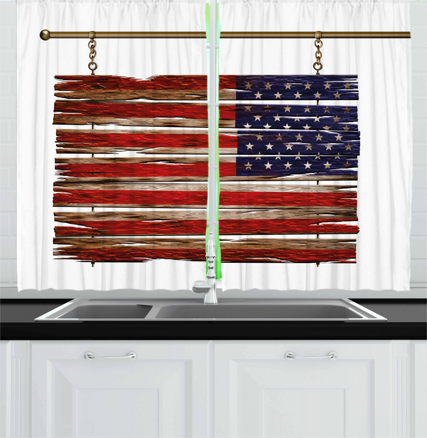 "Popular Details About Primitive Country Kitchen Curtains 2 Panel Set Window Drapes 55"" X 39"" Ambesonne Within Primitive Kitchen Curtains (View 19 of 20)"