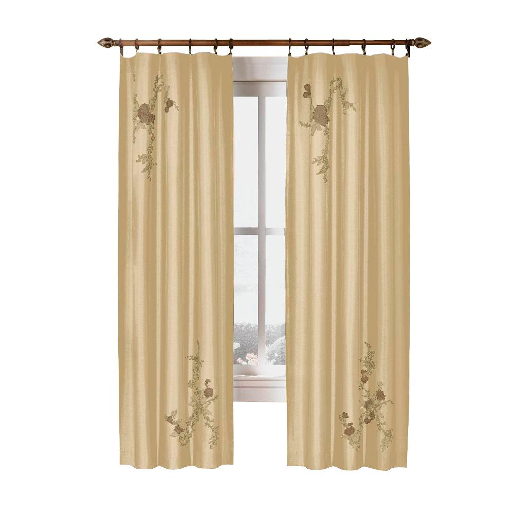 Popular Floral Embroidered Faux Silk Kitchen Tiers Regarding Curtainworks Semi Opaque Gold Asia Faux Silk Rod Pocket Curtain – 44 In. W X 84 In (View 18 of 20)