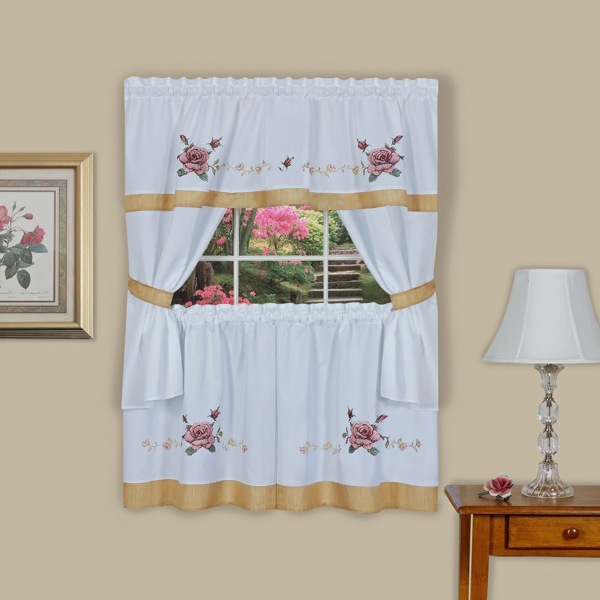 Popular French Vanilla Country Style Curtain Parts With White Daisy Lace Accent Intended For Achim Rose Embellished Cottage Window Curtain Set (57X (View 15 of 20)