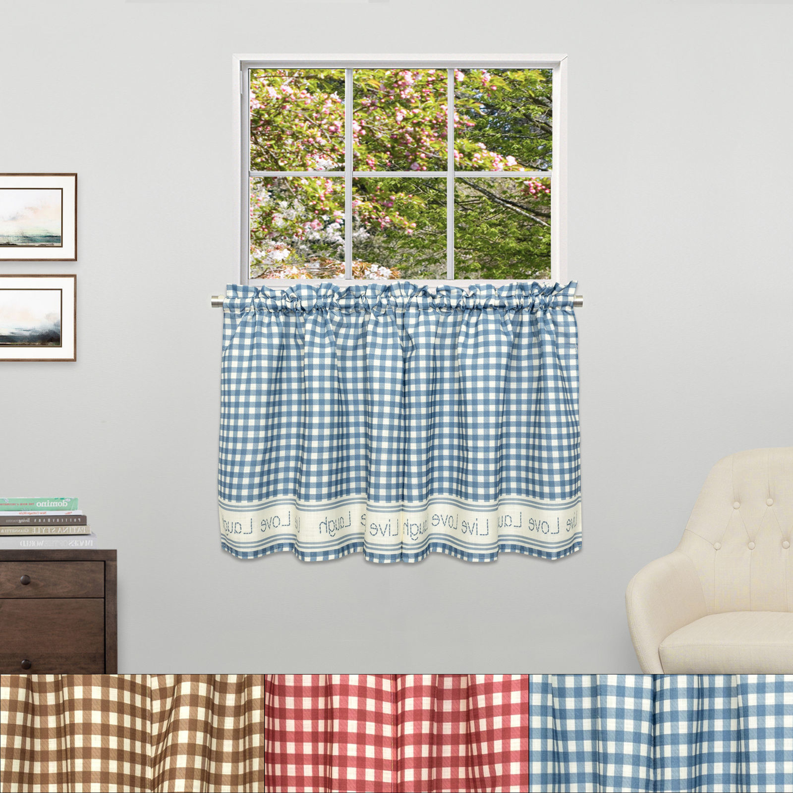 Popular Lorraine Home Fashions Curtain: 1 Customer Review And 183 Pertaining To Live, Love, Laugh Window Curtain Tier Pair And Valance Sets (View 20 of 20)