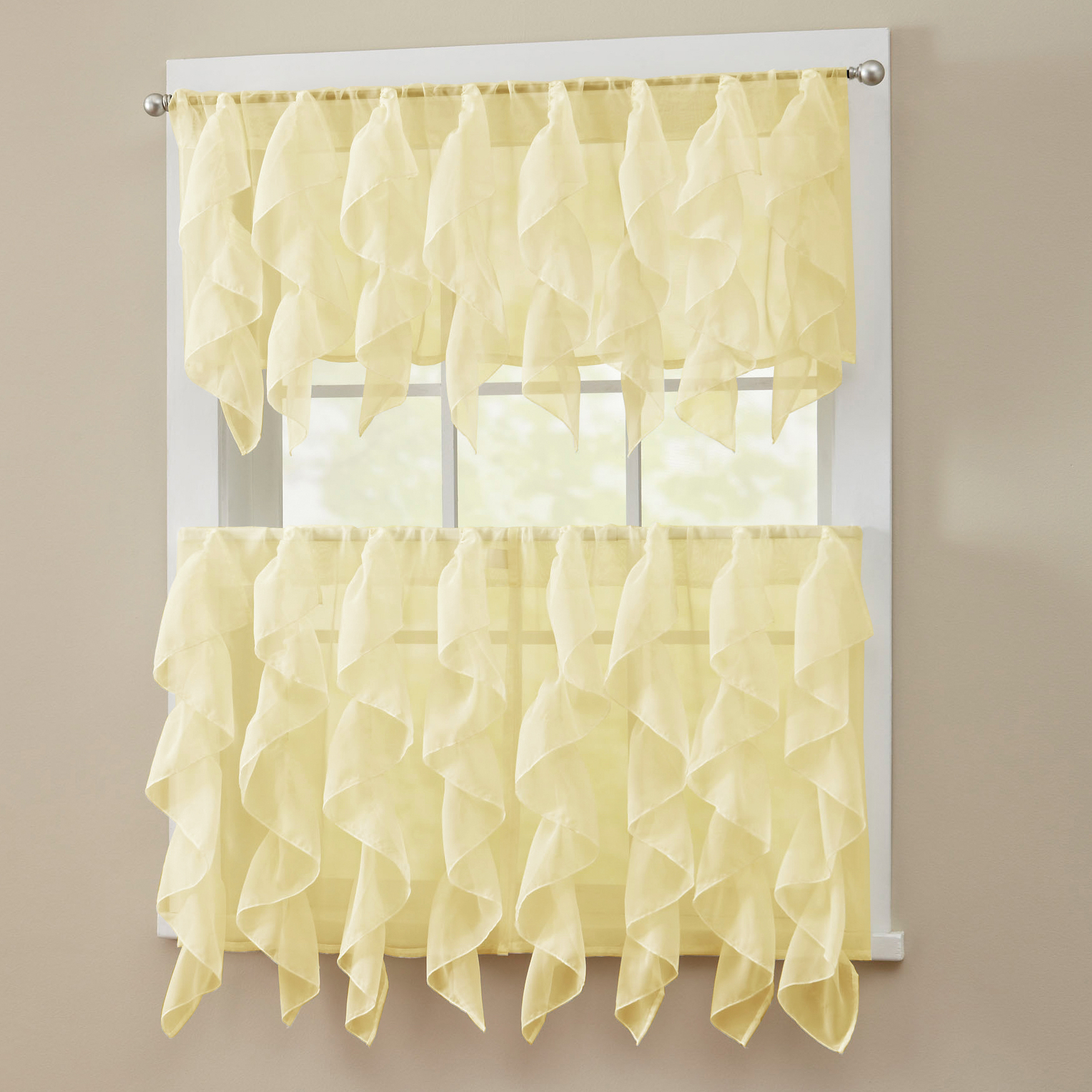 Popular Luxurious Kitchen Curtains Tiers, Shade Or Valances In Details About Sheer Voile Vertical Ruffle Window Kitchen Curtain Tiers Or Valance Maize (View 17 of 20)