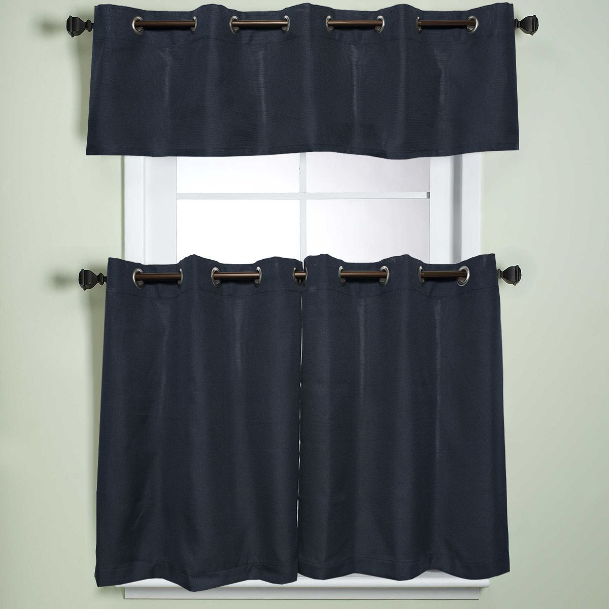 Popular Modern Subtle Texture Solid White Kitchen Curtain Parts With Grommets Tier And Valance Options Within Modern Subtle Texture Solid Navy Kitchen Curtain Parts With (View 3 of 20)
