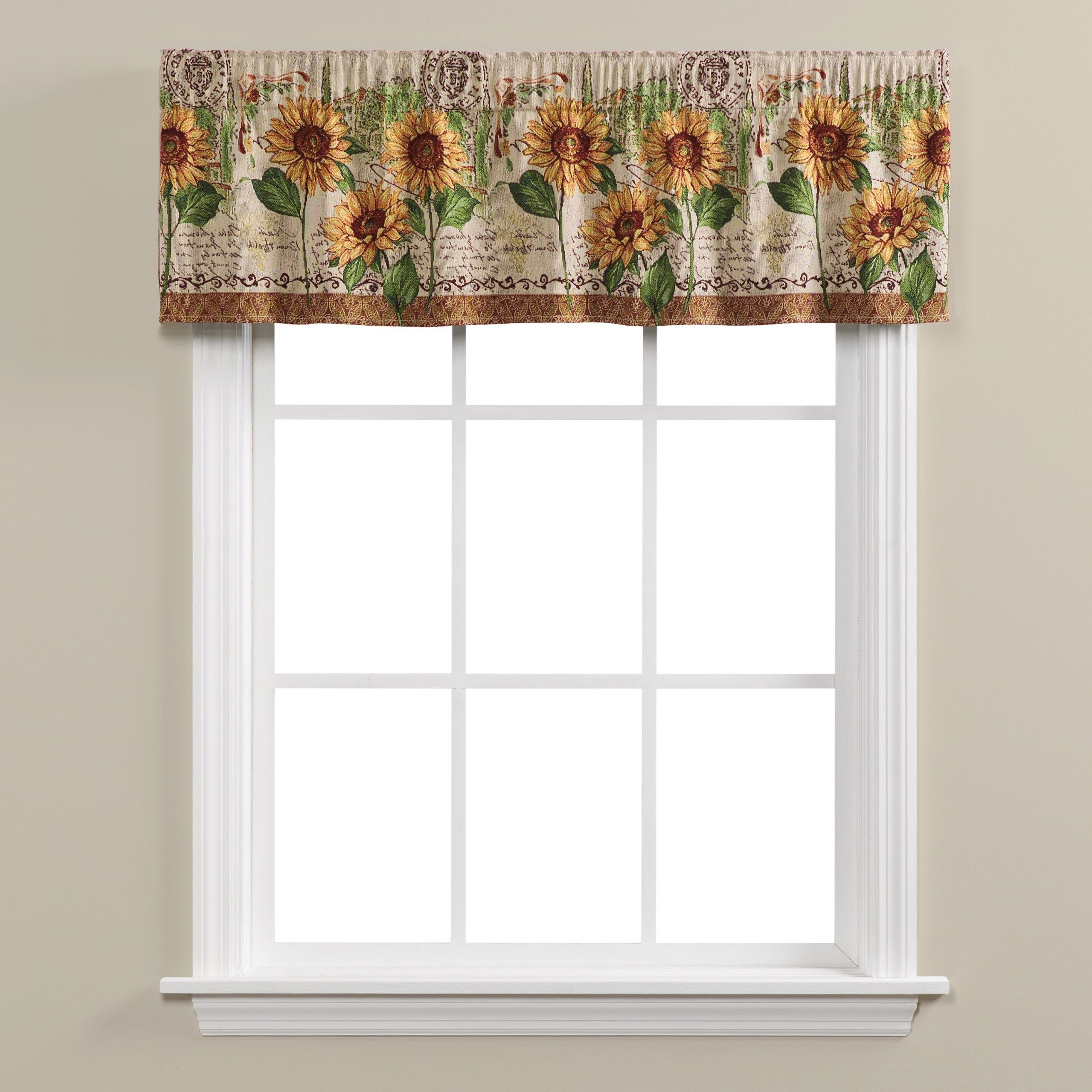 Popular Skl Home Tuscan Sunflowers Tapestry Valance Throughout Traditional Tailored Window Curtains With Embroidered Yellow Sunflowers (View 15 of 20)