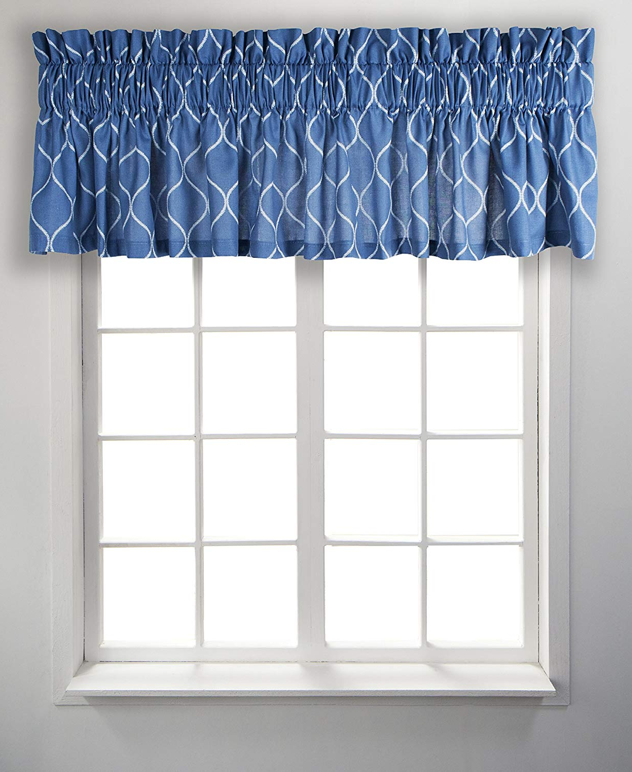 Popular Tailored Toppers With Valances With Regard To Ellis Curtain Trellis, Tailored Valance, Blue (View 9 of 20)