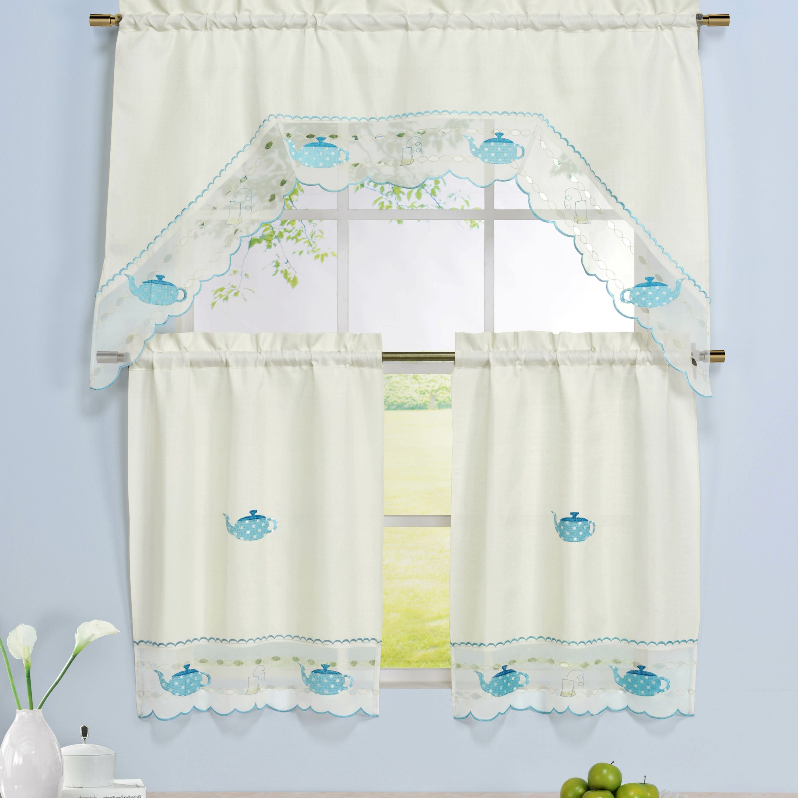 Popular Tea Party 3 Piece Embroidered Kitchen Valance And Tier Set With Regard To Traditional Two Piece Tailored Tier And Swag Window Curtains Sets With Ornate Rooster Print (View 10 of 20)