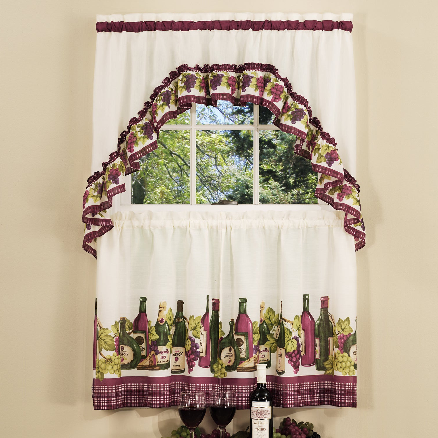 Popular Traditional Two Piece Tailored Tier And Swag Window Curtains Set With Classic French Wine And Grapes Print – 36 Inch Regarding Cotton Blend Ivy Floral Tier Curtain And Swag Sets (View 13 of 20)