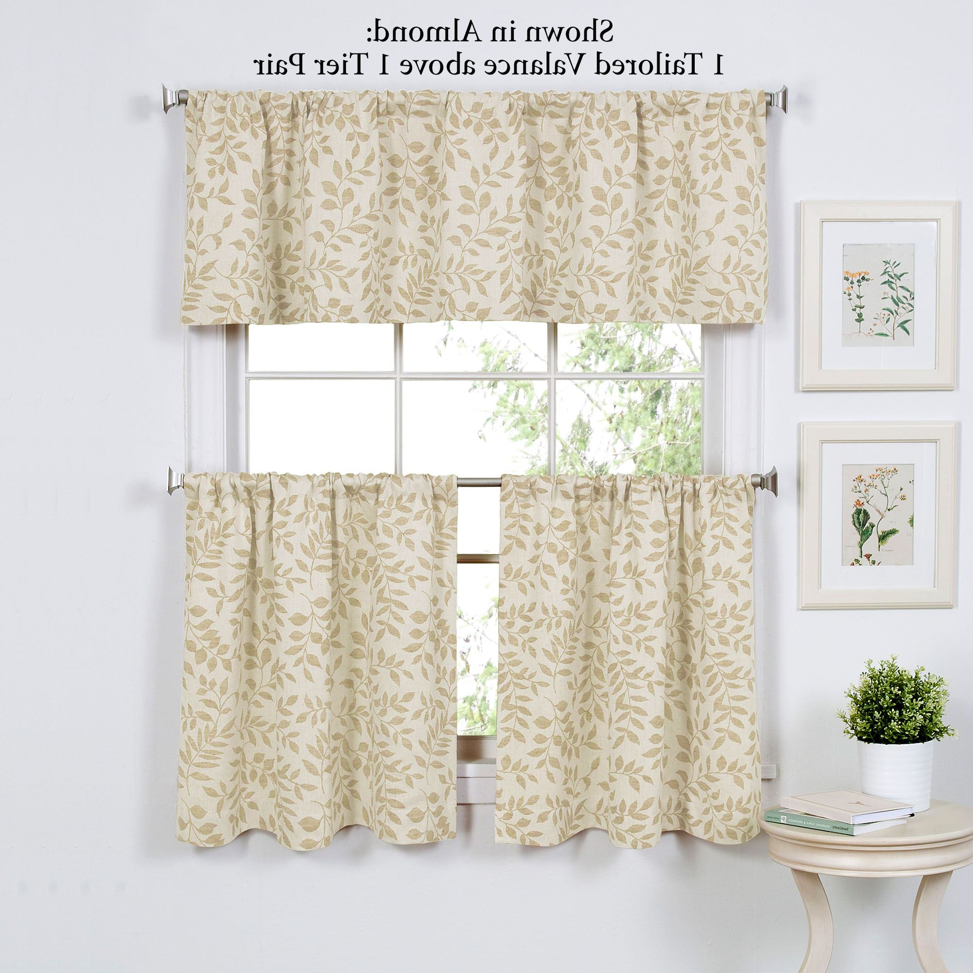 Popular Tranquility Curtain Tier Pairs Throughout Tranquil Leaf Design Tier Window Treatment (View 13 of 20)