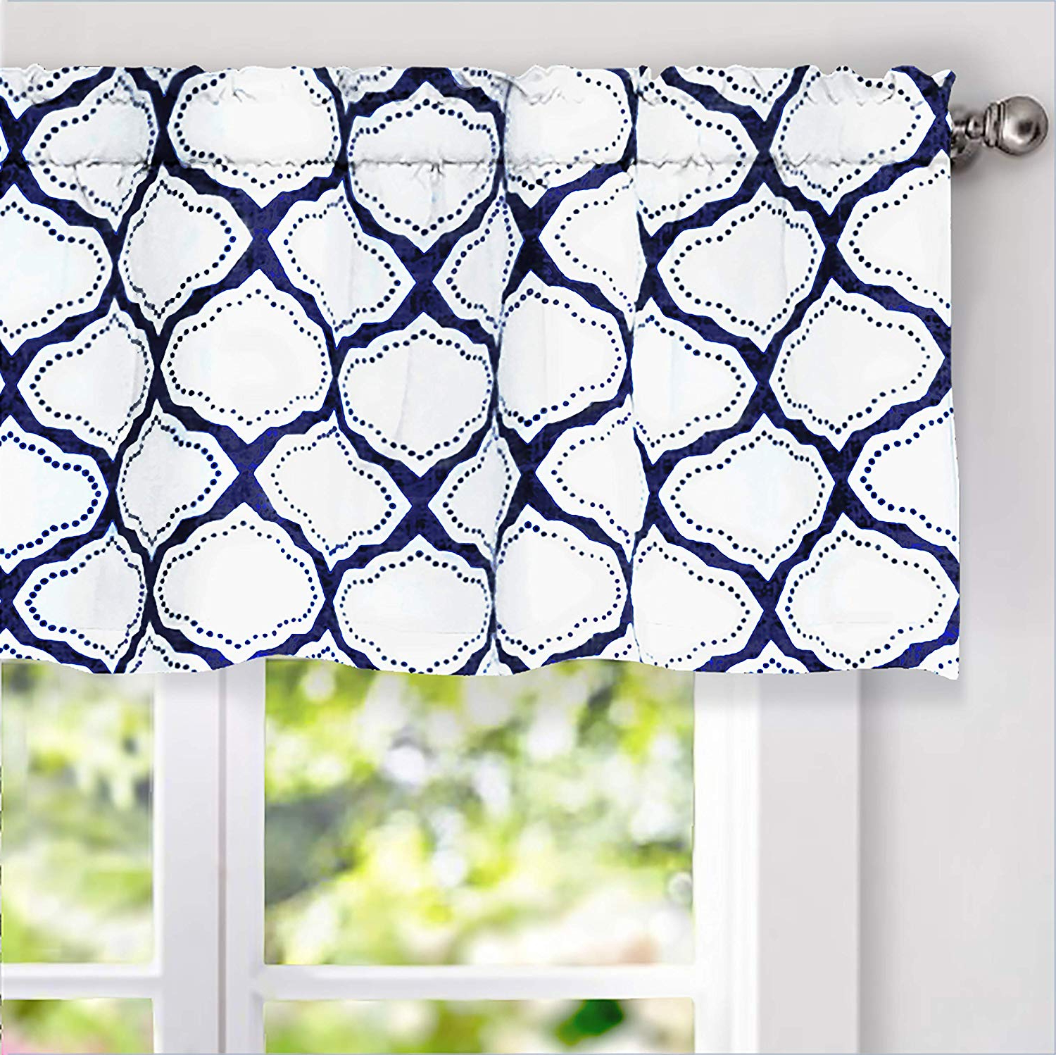 Popular Trellis Pattern Window Valances Throughout Driftaway Geo Trellis Room Darkening Window Curtain Valance Rod Pocket 52 Inch18 Inch Navy (View 13 of 20)